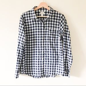 J Crew gingham print button up blouse 441